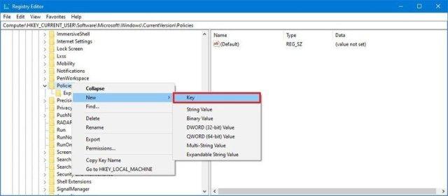 Registry create Explorer key