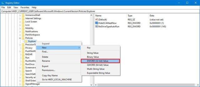 Registry create Hidescameetnow dword