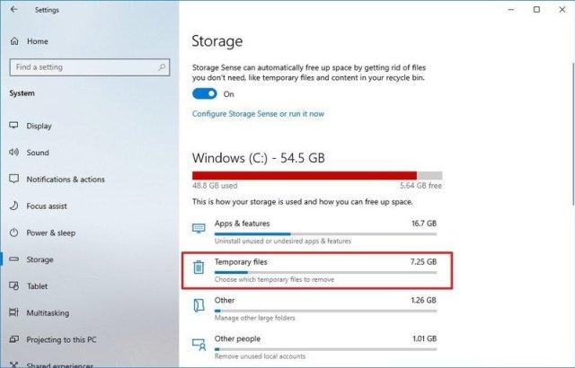 Windows 10 temporary files option