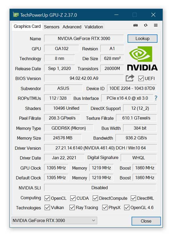 Utilitaire GPU-Z 2.37.0