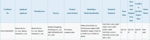 Huawei's MatePad Pro 2 5G gets 3C certification with 40W charging