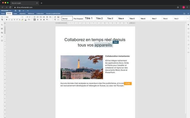 Collaboration en ligne kDrive Infomaniak
