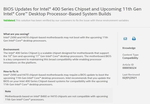 Compatibilité des processeurs Core de 11ième génération avec les actuels Chipsets 400 series