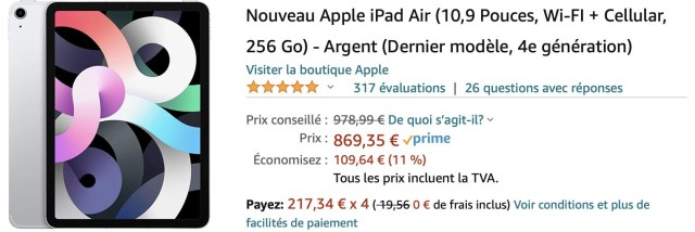 iPad Air 4 promo Amazon