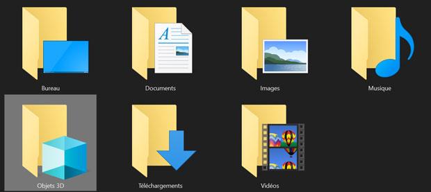 Windows 10 et le répertoire Objets 3D