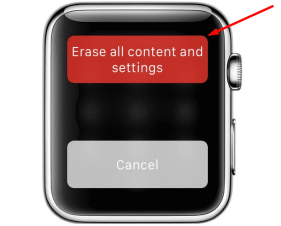 Erase All Content and Settings apple watch