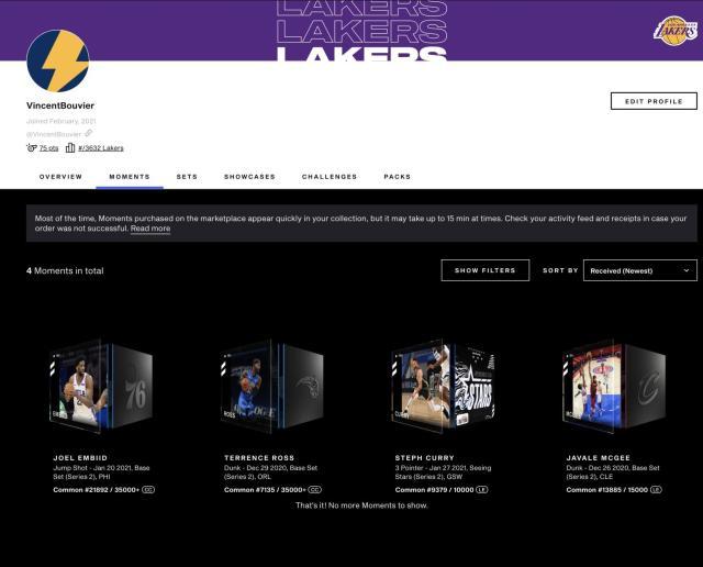 Les moments sur NBA Top Shot