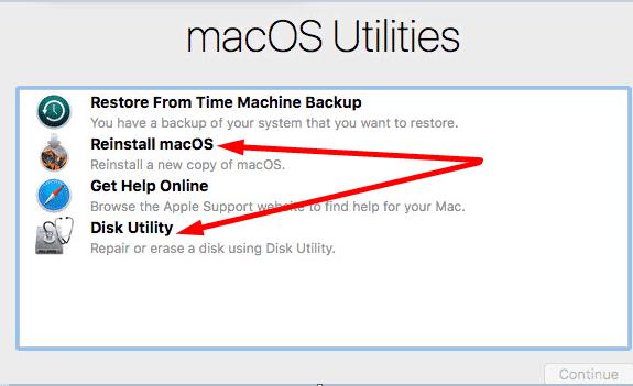 macOS Utilities options
