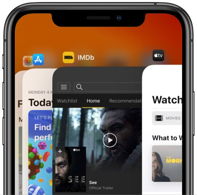 App Switcher view closing apps on an iPhone X