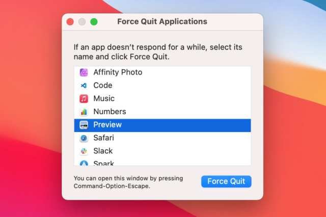 Preview in Force Quit window.