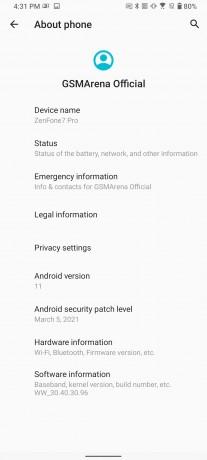 Asus Zenfone 7/7 Pro Android 11 update