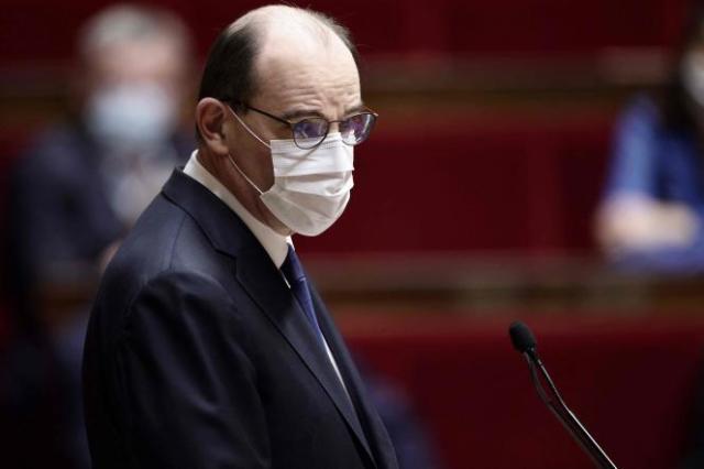 Le premier ministre, Jean Castex, s'adresse à l'Assemblée nationale le 1eravril 2021, au lendemain des annonces d'Emmanuel Macron pour faire face à la troisième vague.