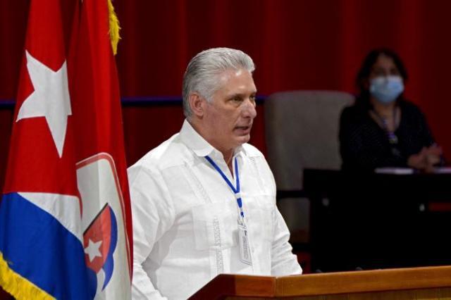 Miguel Diaz-Canel, président cubain, lors de la séance d'ouverture du 8e congrès du Parti communiste cubain, le 18 avril, à La Havane.