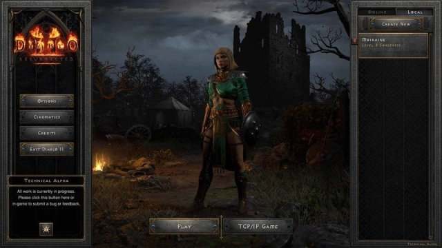 Diablo 2 Resurrected Tech Alpha Character Screen