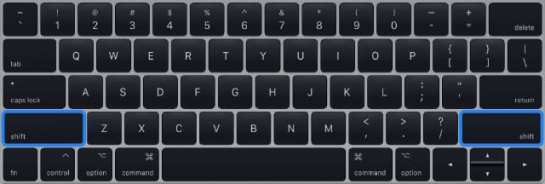 Shift keys on MacBook keyboard