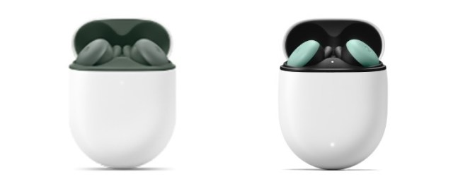 Pixel Buds A (left) compared to the second generation Pixel Buds (right, Quite Mint color)