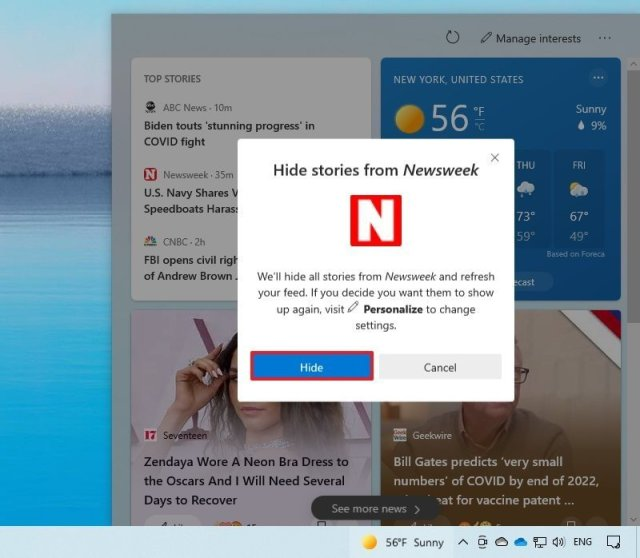Remove content from taskbar feed on Windows 10