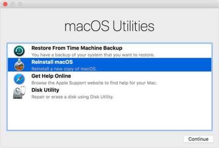 reinstall macOS using Recovery Mode menu