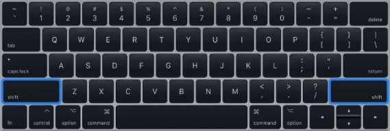 Shift keys on MacBook keyboard