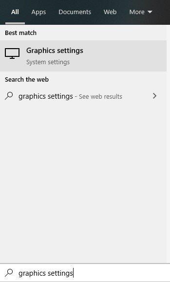 Start Menu Graphics Settings Search