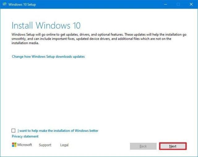 Install Windows 10 Setup