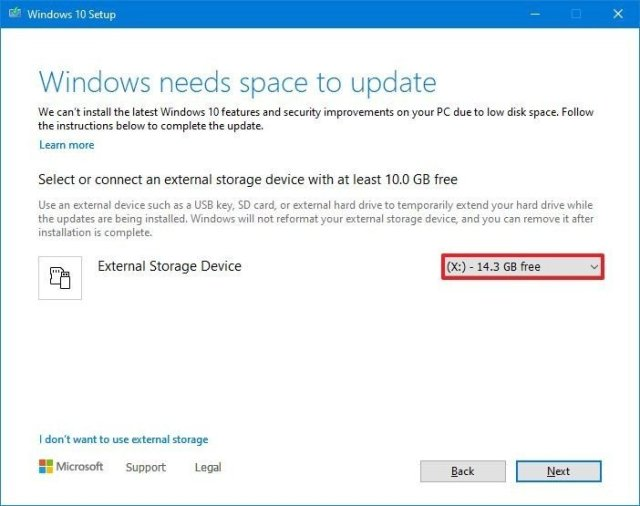 External Storage Device option