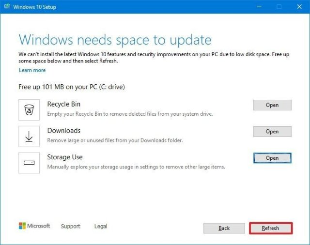 Windows needs space to update settings