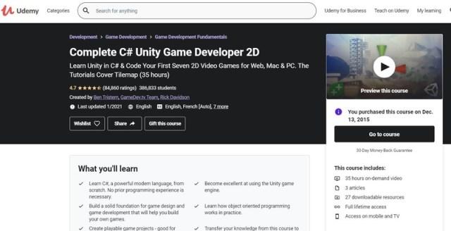 Unity 3d Course Page