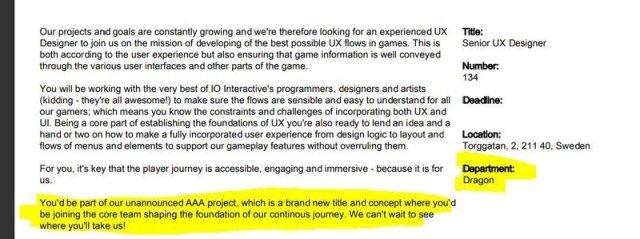 Project Dragon Job Listing
