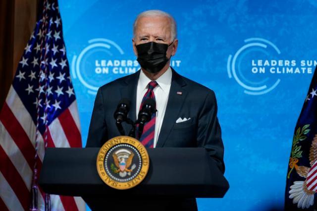 Joe Biden lors de son sommet sur le climat, jeudi22 avril 2021.