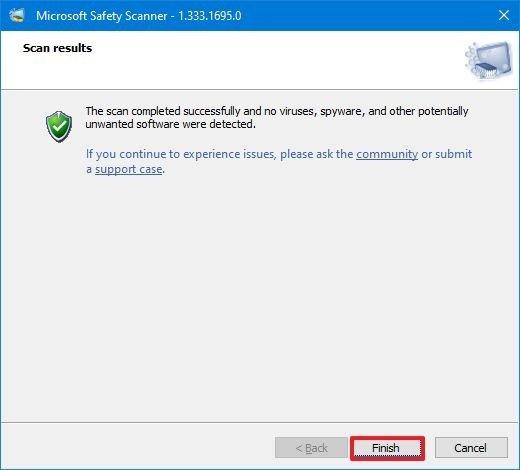 Msert Scan Complete on Windows 10
