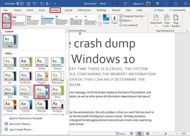 Microsoft Word Themes options