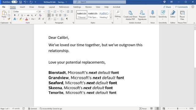 Microsoft: Calibri ne sera bientôt plus la police par défaut