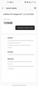Oxygen OS 11.3.3.3 update notification for the OnePlus 9 Pro