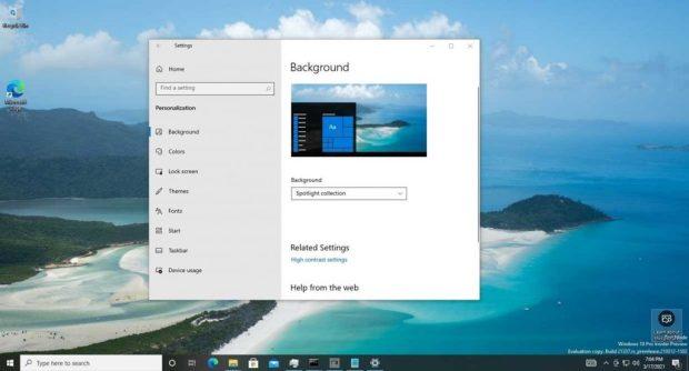 Windows 10 et le bureau - Configuration de l'arrière-plan avec Windows à la une