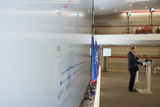 Le premier ministre, Jean Castex, lors de sa conférence de presse sur la stratégie du gouvernement face à l'épidémie de Covid-19, à Paris, le 22 avril.