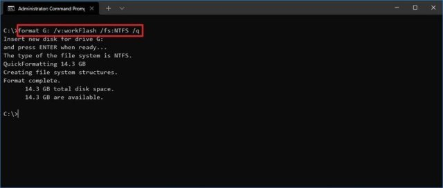 Command Prompt quick format for USB flash drive