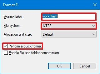 Format Settings Windows 10 Disk Management