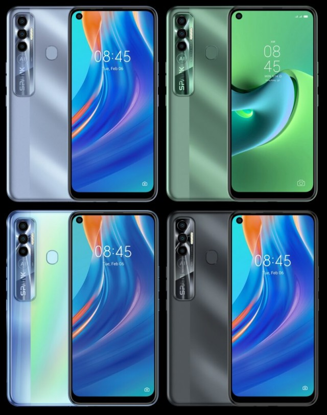 Tecno Spark 7 Pro in its four official colors