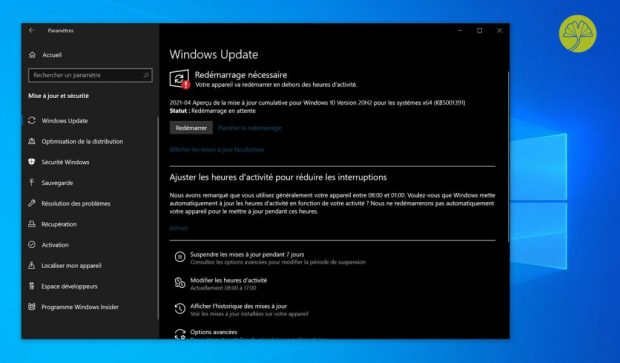Windows 10 et l'installation de la mise à jour cumulative KB5001391