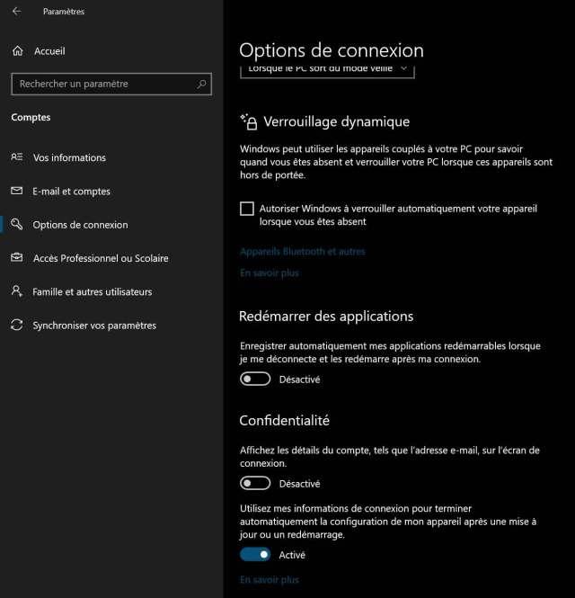 Windows 10 et l'option « Redémarrer des applications dans Options de connexion
