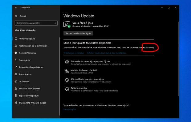 Windows 10, KB5001649 est disponible dans la section « mises à jour qualité facultative disponible » de Windows Update.
