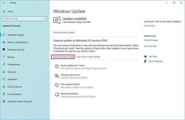 Windows 10 version 21H1 install