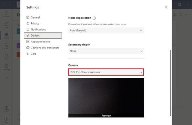 Microsoft Teams default camera setting