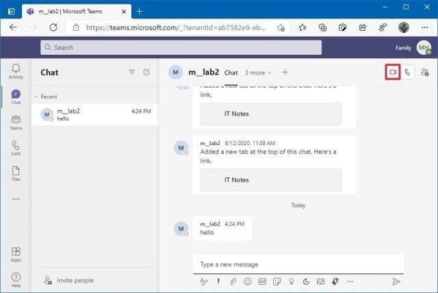 Start video call on Microsoft Teams