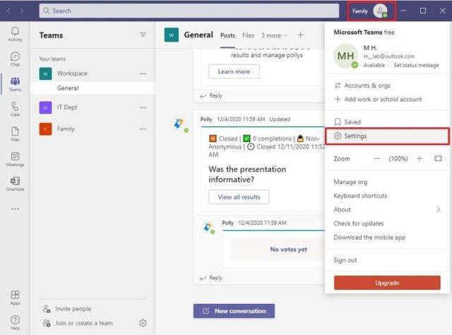 Microsoft Teams settings option