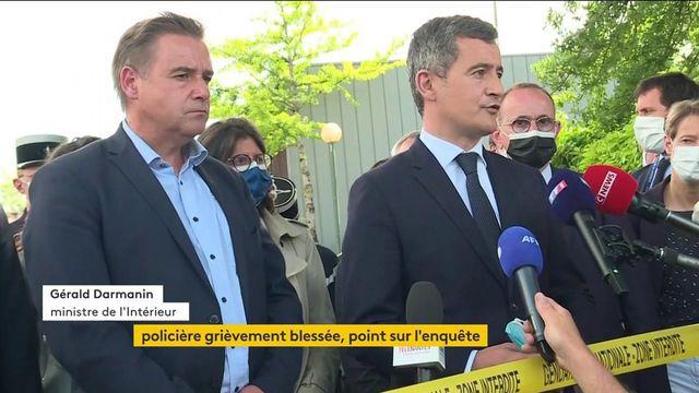 Le ministre de l'Intérieur, Gérald Darmanin, s'exprime après l'agression au couteau d'une policière municipale à La-Chapelle-sur-Erdre (Loire-Atlantique)
