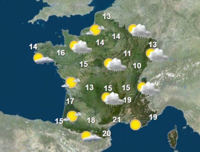 La carte météo pour l'après-midi du 19 mai 2021. (FRANCEINFO)