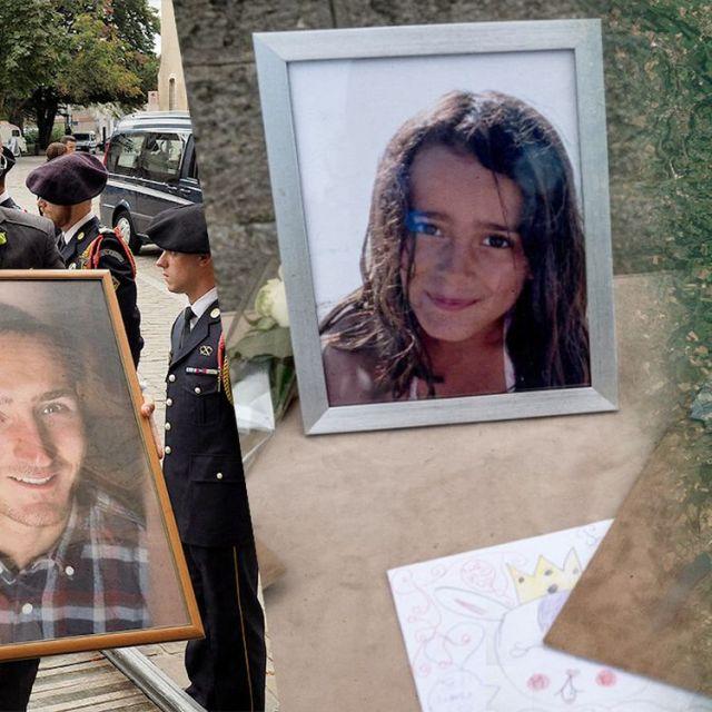 Les obsèques d'Arthur Noyer (à gauche), à Bourges (Cher), le 7 septembre 2018, et celles de Maëlys de Araujo, le 2 juin 2018, à La Tour-du-Pin (Isère). (AFP / FRANCE INFO / JESSICA KOMGUEN)