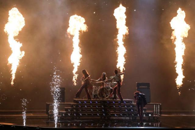 Le groupe italien Maneskin aux répétitions de l'Eurovision à Rotterdam, le 21mai2021.